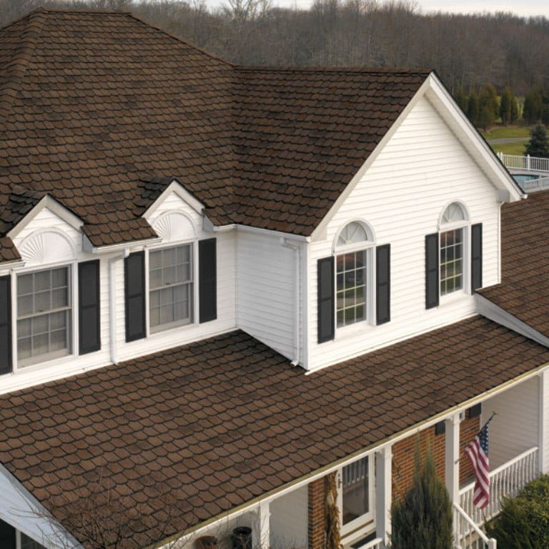 Brown Roof Big White House
